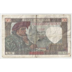 FRANCE 50 FRANCS JACQUES COEUR 05/09/1940 TB+