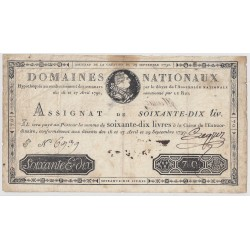 Assignat face royal de 70 livres du 29 Septembre 1790 LEGROS - TB+