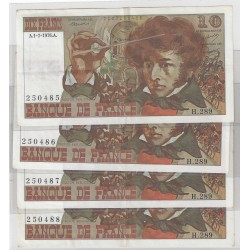 FRANCE suite de 4 x 10 FRANCS BERLIOZ 01/07/1976 H.289 SUP