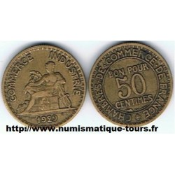 FRANCE 50 CENTIMES DOMARD 1929 TB+