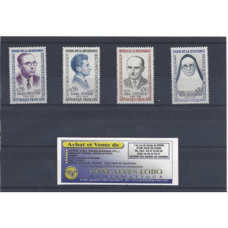 YVERT 1288 à 1291 Serie 4 Timbres NEUF