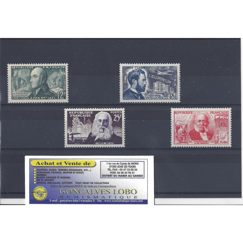 YVERT 1012 a 1017 INVENTEURS CELEBRES 1955 Serie 4 Timbres NEUF