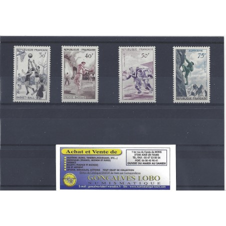 YVERT 1072 a 1075 SERIE SPORTIVE 1956 Serie 4 Timbres NEUF