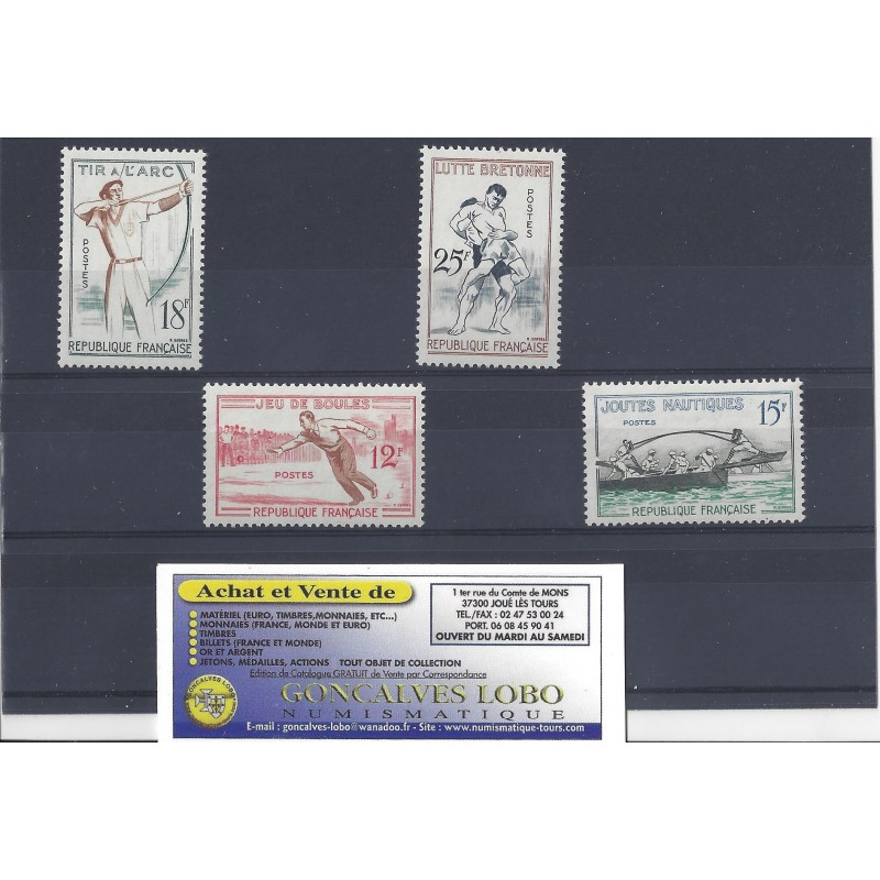 YVERT 1161 a 1164 JEUX TRADITIONNELS 1958 Serie 4 Timbres NEUF