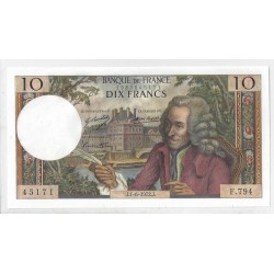FRANCE 10 FRANCS VOLTAIRE 01 06 1972  F.794 NEUF
