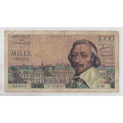 FRANCE 1000 FRANCS RICHELIEU 01 10 1953 P.16 TB+