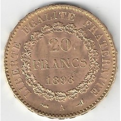 20 FRANCS OR GENIE 1898 A en etat SUP- OR GOLD ORO