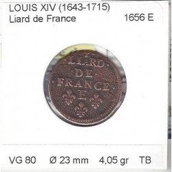 LOUIS XIV ( 1643-1715 ) LIARD DE FRANCE 1656 E (Tours) TB