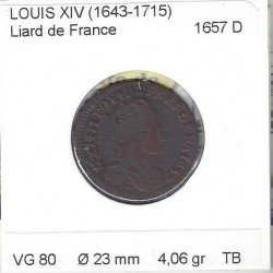 LOUIS XIV ( 1643-1715 ) LIARD DE FRANCE 1657 D (Lyon) TB