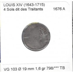 LOUIS XIV ( 1643-1715 ) 4 SOLS DIT DES TRAITANTS 1676 A (PARIS) TB