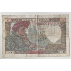 FRANCE 50 FRANCS SERIE V 3 JACQUES COEUR 13 06 1940 TB+