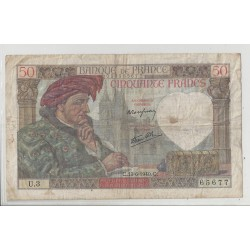 FRANCE 50 FRANCS SERIE U 3 JACQUES COEUR 13 06 1940 TB+