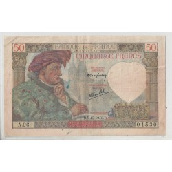 FRANCE 50 FRANCS SERIE A 26  JACQUES COEUR 05 12 1940 TTB+