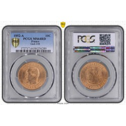 10 CENTIMES NAPOLEON III 1852 A PCGS MS64 RD (FDC)