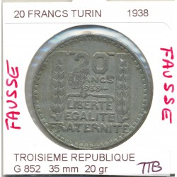20 FRANCS TURIN 1938 TTB FAUSSE