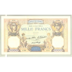 FRANCE 1000 FRANCS SERIE A.884 CERES ET MERCURE 05 04 1930 TTB+