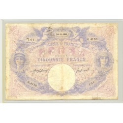 FRANCE 50 FRANCS SERIE Q.4170 BLEU ET ROSE 24 11 1911 TB