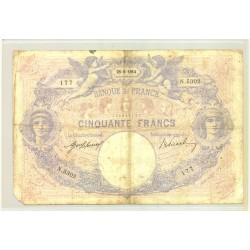 FRANCE 50 FRANCS SERIE N.5302 BLEU ET ROSE 25 06 1914 TB-
