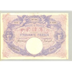 FRANCE 50 FRANCS SERIE K.6293 BLEU ET ROSE 26 06 1915 TTB