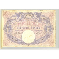 FRANCE 50 FRANCS SERIE K.7308 BLEU ET ROSE 24 02 1917 TB
