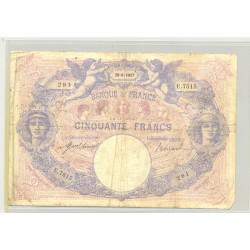 FRANCE 50 FRANCS SERIE E.7515 BLEU ET ROSE 29 06 1917 TB