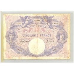 FRANCE 50 FRANCS SERIE N.8110 BLEU ET ROSE 22 04 1918 TB