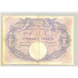 FRANCE 50 FRANCS SERIE F.8268 BLEU ET ROSE15 02 1919 TB+
