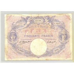 FRANCE 50 FRANCS SERIE A.9237 BLEU ET ROSE 24 08 1922 TB
