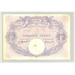 FRANCE 50 FRANCS SERIE E.9654 BLEU ET ROSE 30 04 1923 TB+