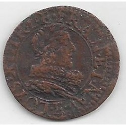LOUIS XIII (1610-1643) Double Tournois 1632 E (Tours) TB
