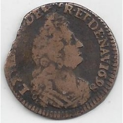 LOUIS XIV ( 1643-1715 ) LIARD DE FRANCE 1698 E (Tours) TB+