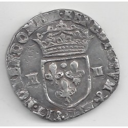 LOUIS XIII (1610-1643) QUART ECU 1618 (H) (LA ROCHELLE) TB DIFFERENT HENRI GUITTON