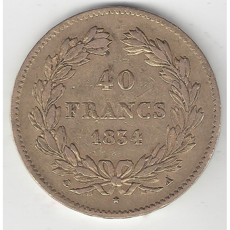 FRANCE 40 FRANCS LOUIS PHILIPPE Ier 1834 A (PARIS) OR GOLD ORO TB+ G1106