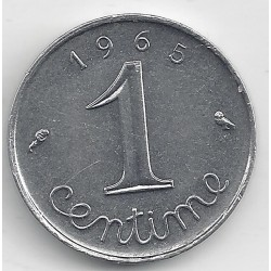 FRANCE 1 CENTIME INOX 1965 AVERS ECRITURE GRASSE SUP