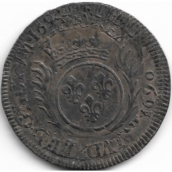 LOUIS XIV ( 1643-1715 ) 1/2 ECU AU PALMES 1694 (atelier illisible) TB