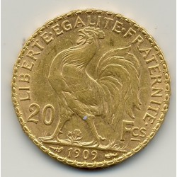 FRANCE 1909 20 Francs OR COQ en etat TTB+ OR GOLD ORO