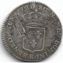 LOUIS XV ( 1715-1774 ) 1/12 ème ECU DE FRANCE 1721 E (TOURS) TB