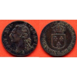 LOUIS XVI ( 1774-1793 ) 1/2 SOL A L'ECU 1783 A (PARIS) TB+